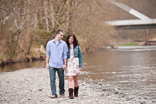 Scott & Jac walking by the river